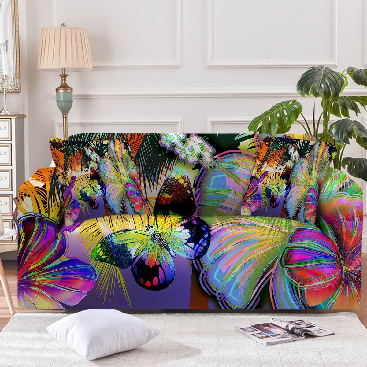 Tropical Hibiscus and Butterfly Couch Cover