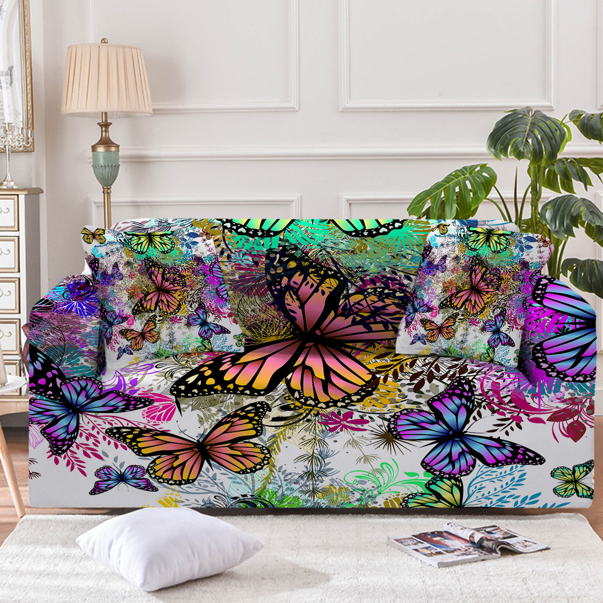 Tropical Butterflies Couch Cover