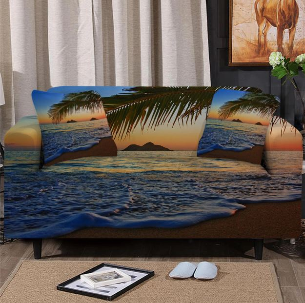 Tropical Beach Couch Cover