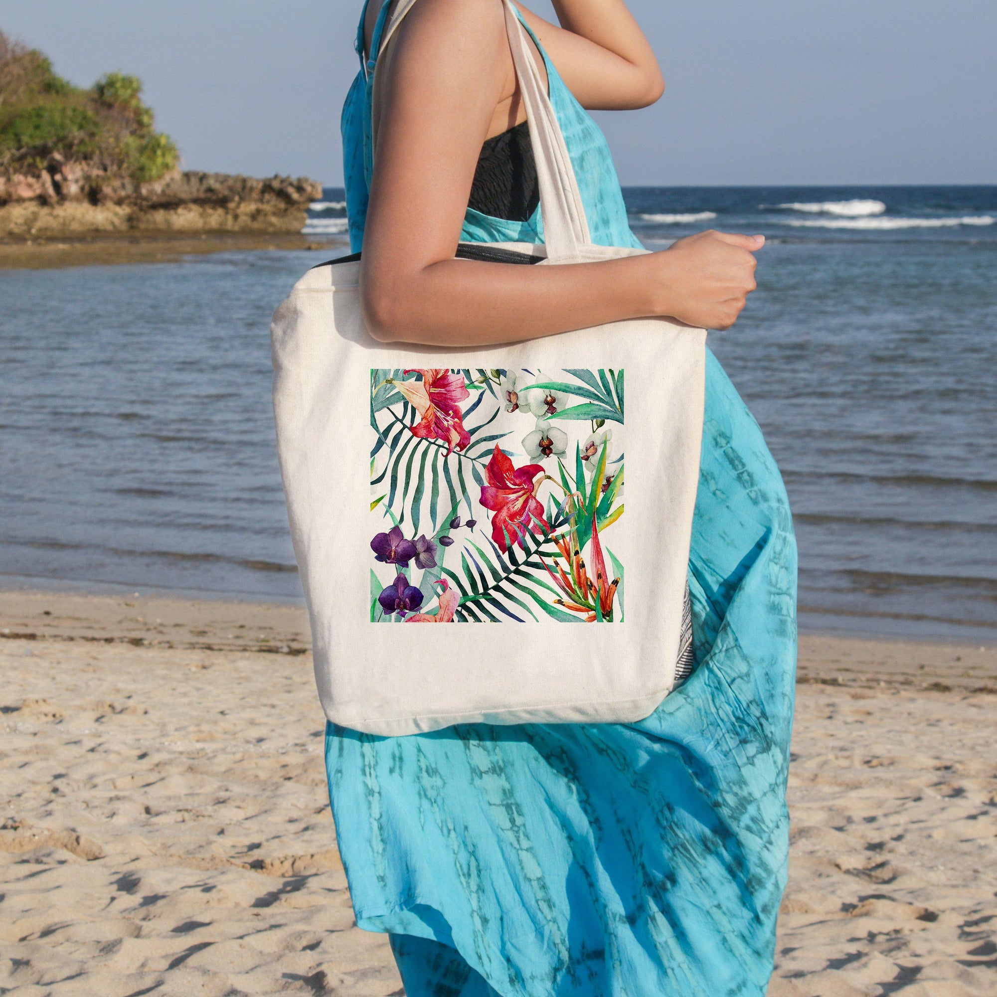 Tropical Floral Beach Tote-Coastal Passion