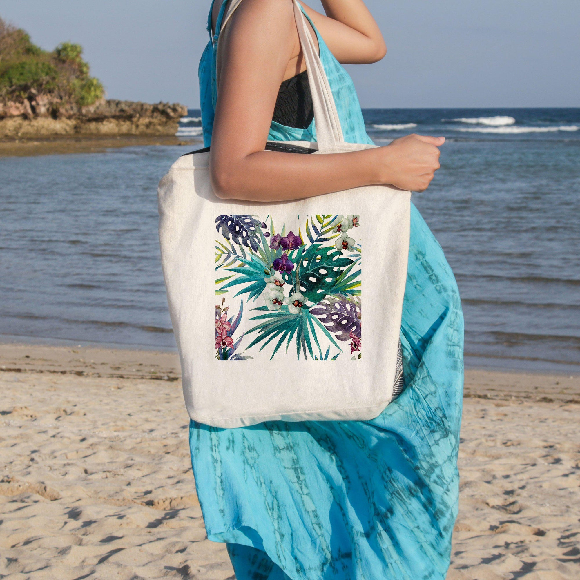 Tropical Orchids Beach Tote-Coastal Passion