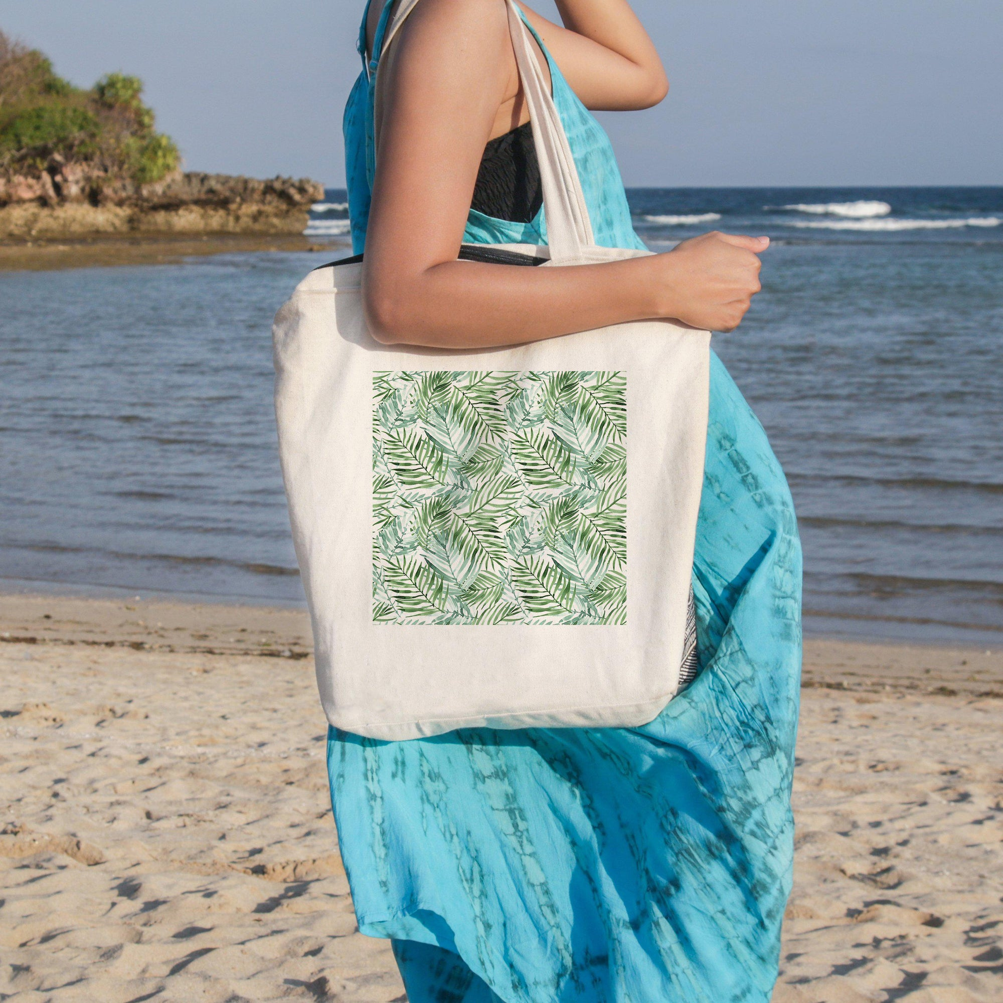 Tropical Palm Leaves Beach Tote-Coastal Passion