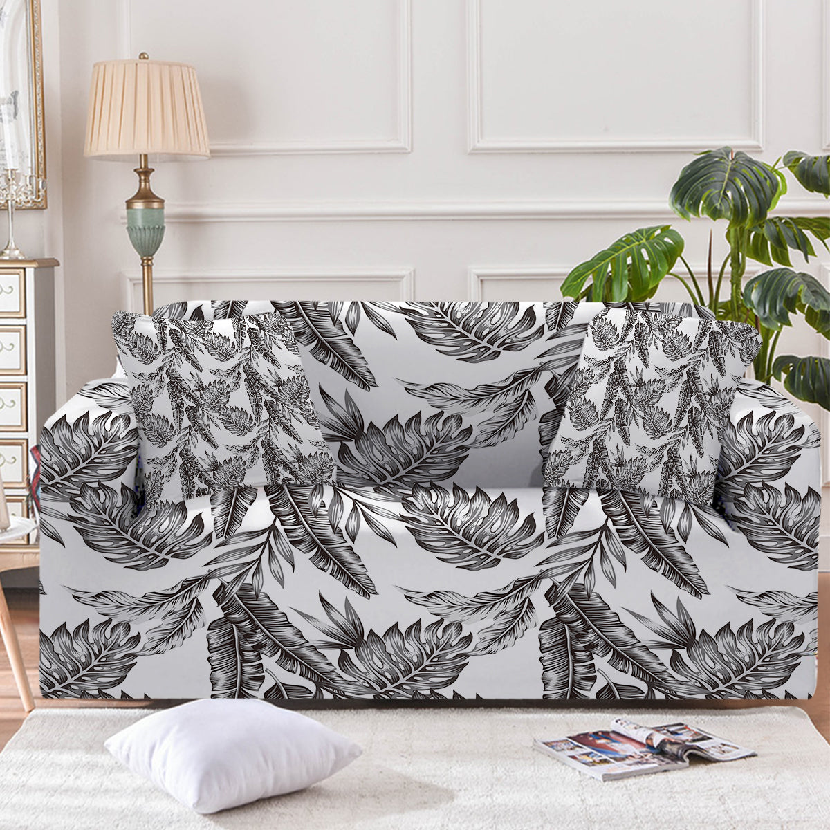 Vintage Tropical Leaves Couch Cover