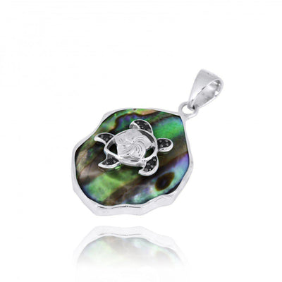 Pendant-Abalone Shell Pendant Necklace with Sterling Silver Turtle and Black Spinel-Coastal Passion