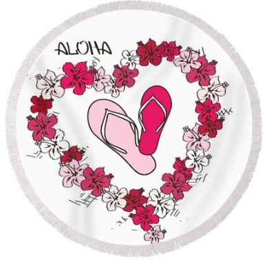 Round Beach Towel-Aloha Slippahs Round Beach Towel-Coastal Passion