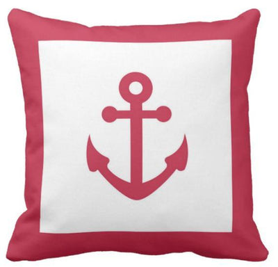 "Anchor Home-Pillow Cover-Outdoor: Canvas-17"" x 17""-Red Anchor Home-Coastal Passion"