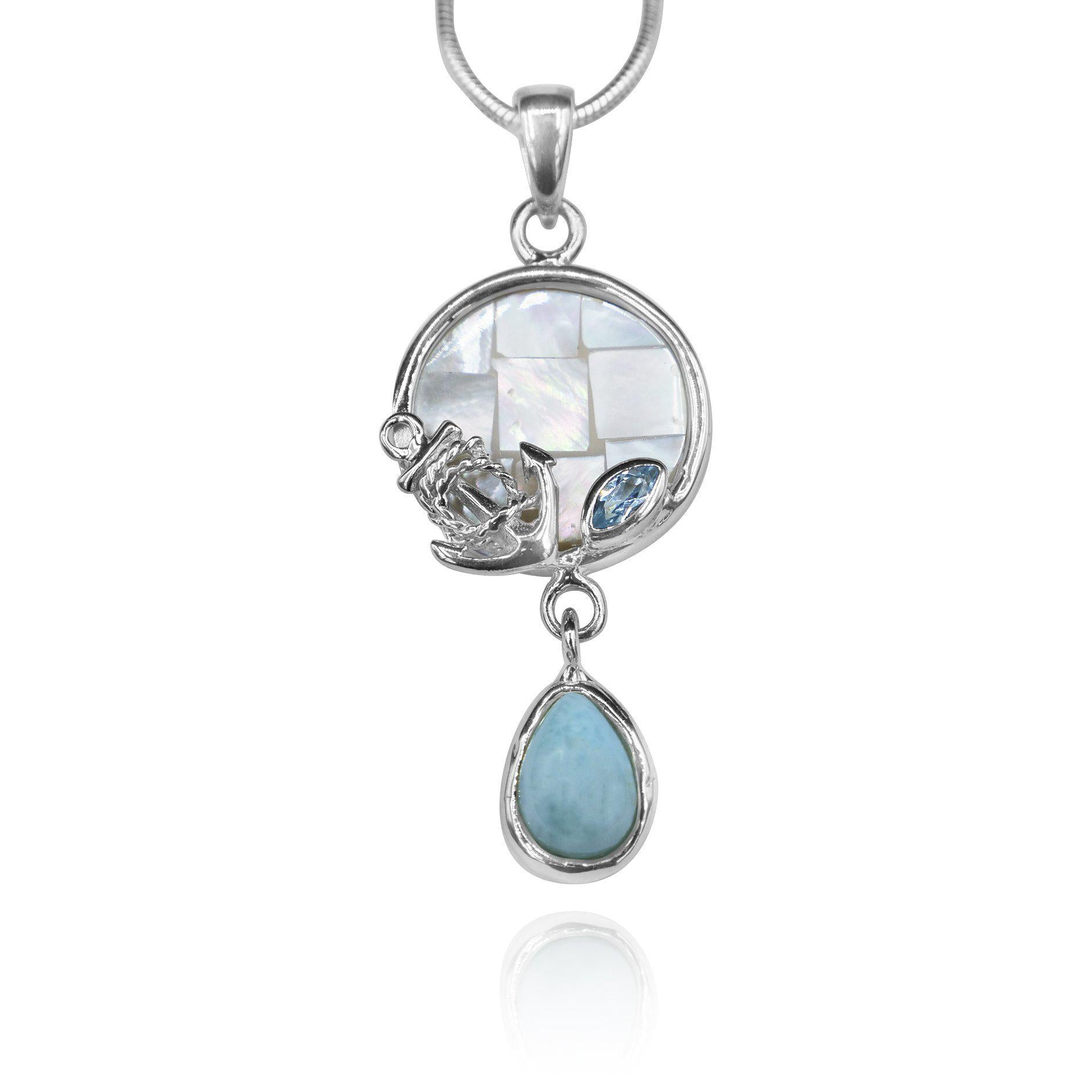 Anchor Pendant Necklace with Blue Topaz, Mother of Pearl Mosaic and Larimar Stone