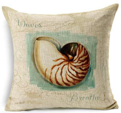 "Artsy Sea Style Collection-Pillow Cover-17"" x 17""-Standard: Linen-Polyester-Artsy Sea Style Collection 2-Coastal Passion"