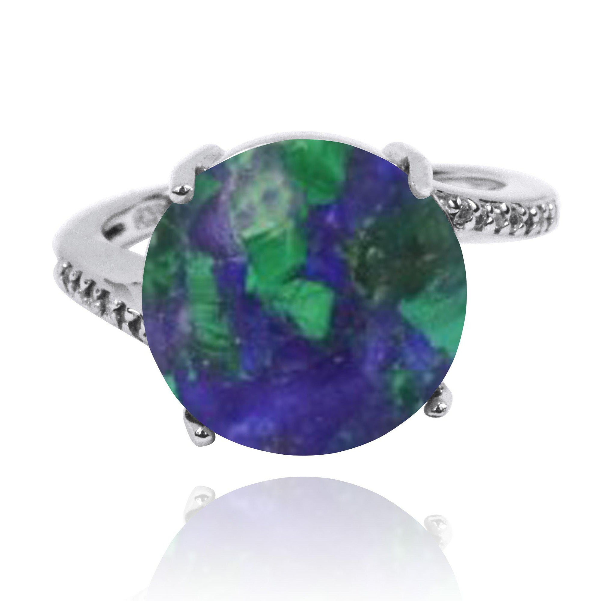 Azurite Malachite  Gemstone Ring with 14 Round Shape White CZ Stones