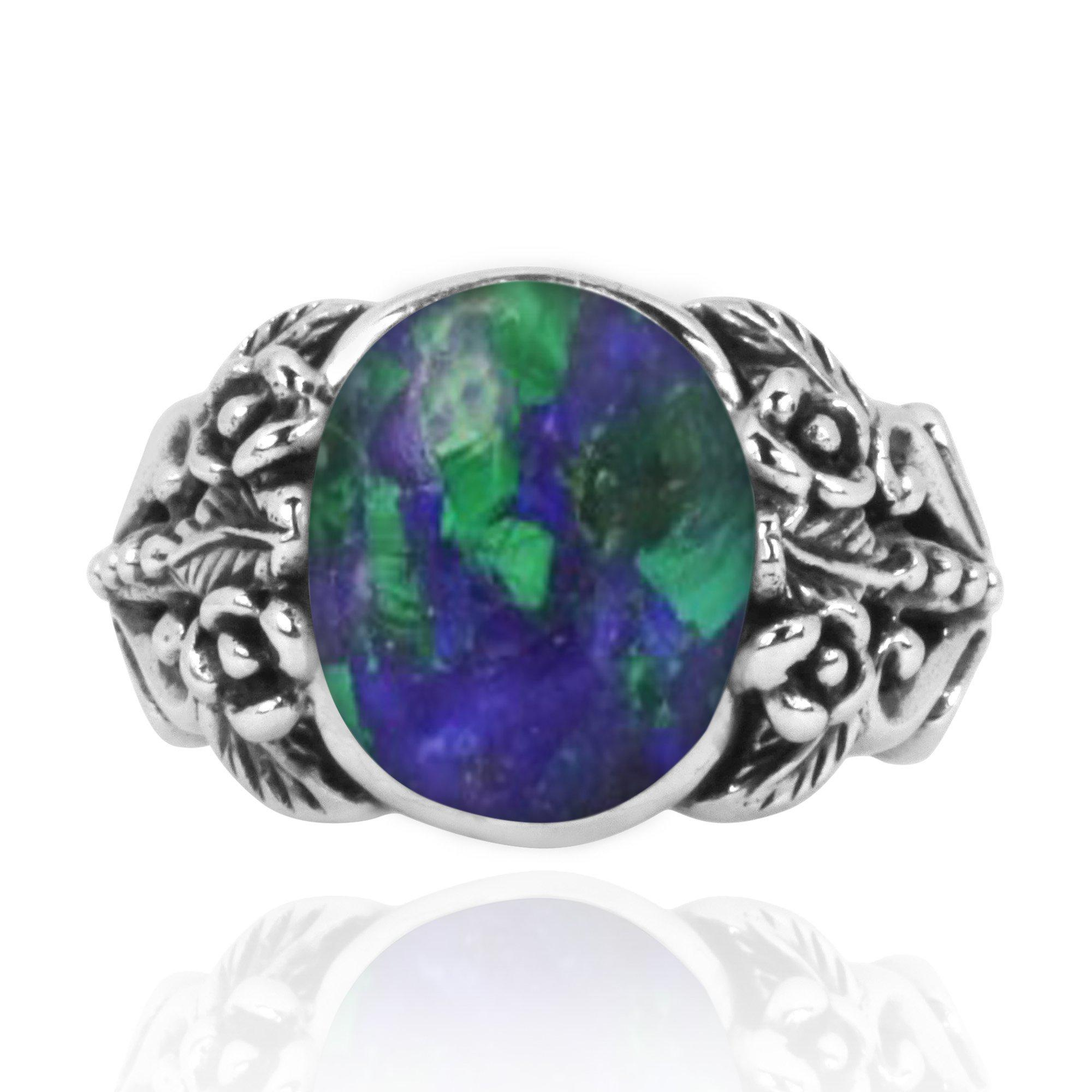 Azurite Malachite Oxidized Silver Statement Ring