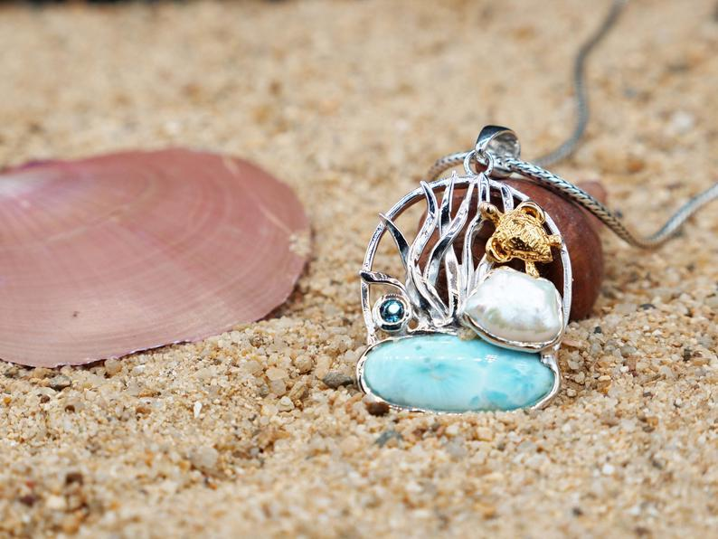-Baby Sea Turtle Beach Pendant with Larimar, Blue Topaz and Pearl - Only One Piece Created-Coastal Passion
