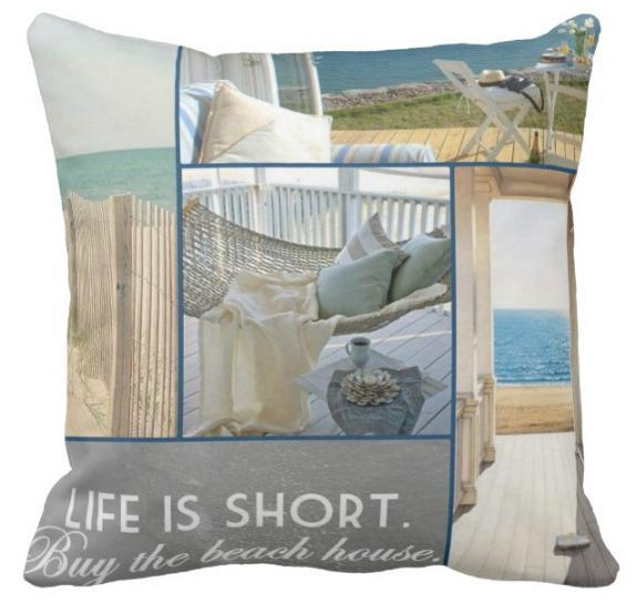 "Beach Collage Collection-Pillow Cover-17"" x 17""-Beach Collage 1-Standard: Linen-Polyester-Coastal Passion"