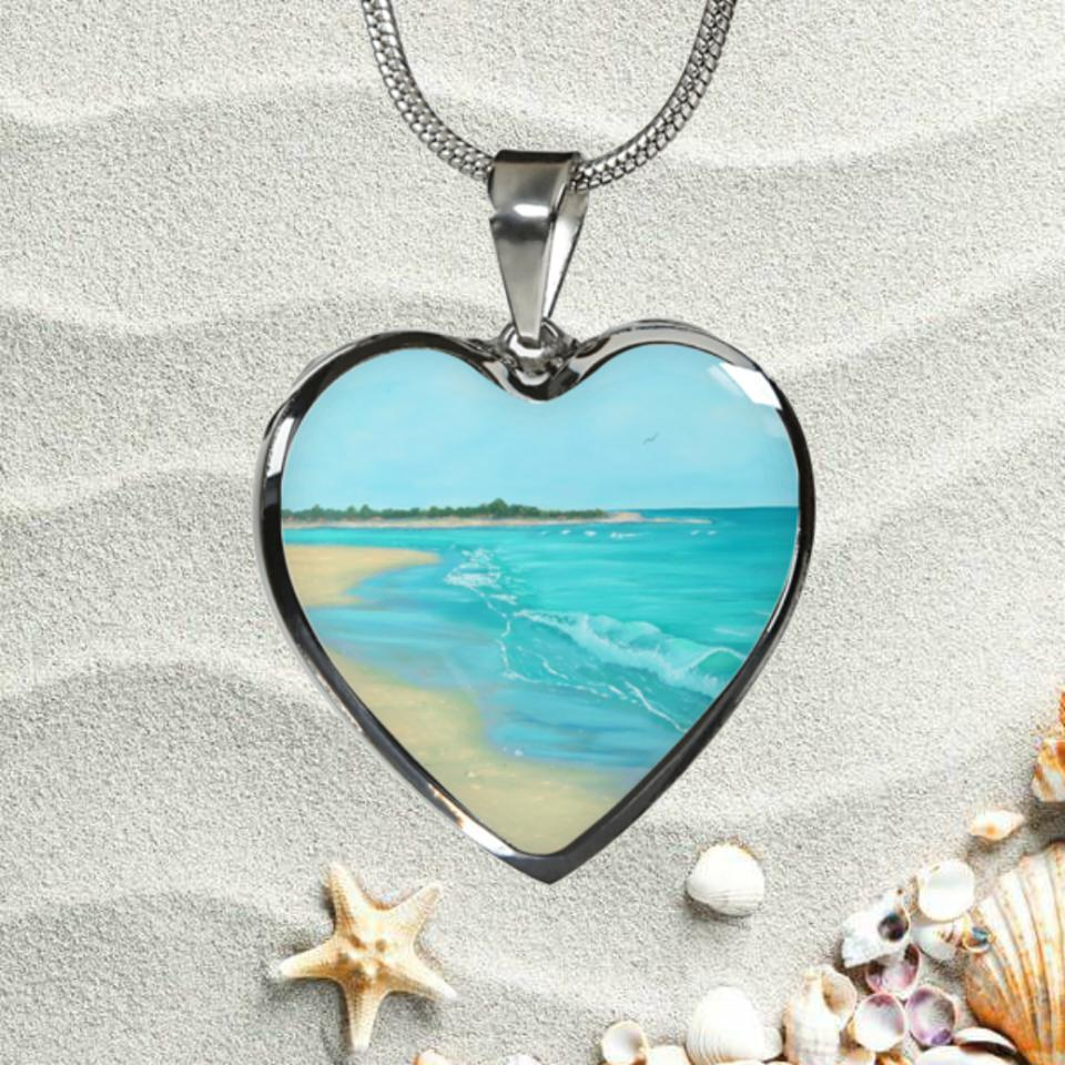 Beach Painting Heart  Necklace
