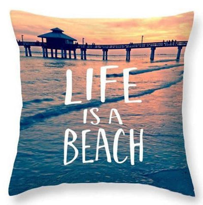 Beach Quotes Collection-Pillow Cover-Life is a Beach-Coastal Passion
