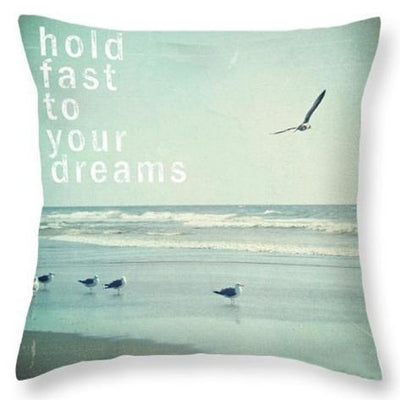 Beach Quotes Collection-Pillow Cover-Hold fast to Your Dreams-Coastal Passion