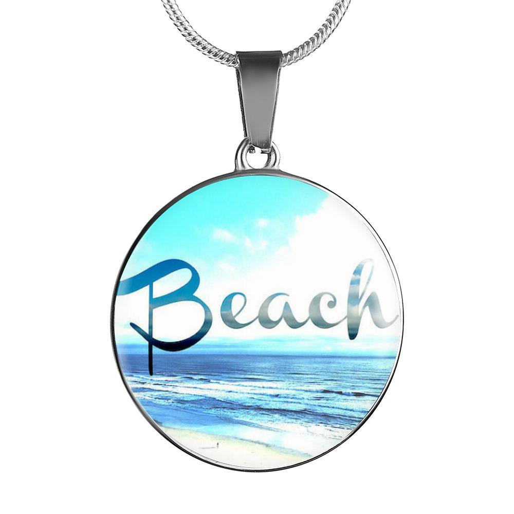 Beach Round Pendant Necklace-Jewelry-Luxury Necklace (Silver)-Coastal Passion