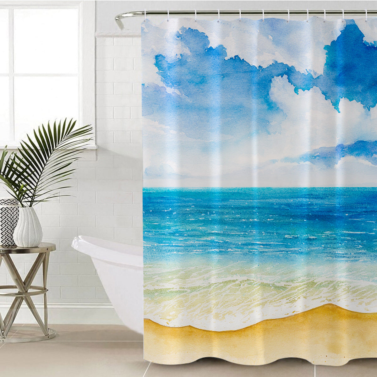 Beach Painting Shower Curtain