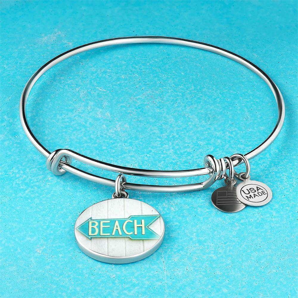 Beach Sign Bangle Bracelet-Bangle Bracelet-Bangle-Bracelet adjustable-Coastal Passion