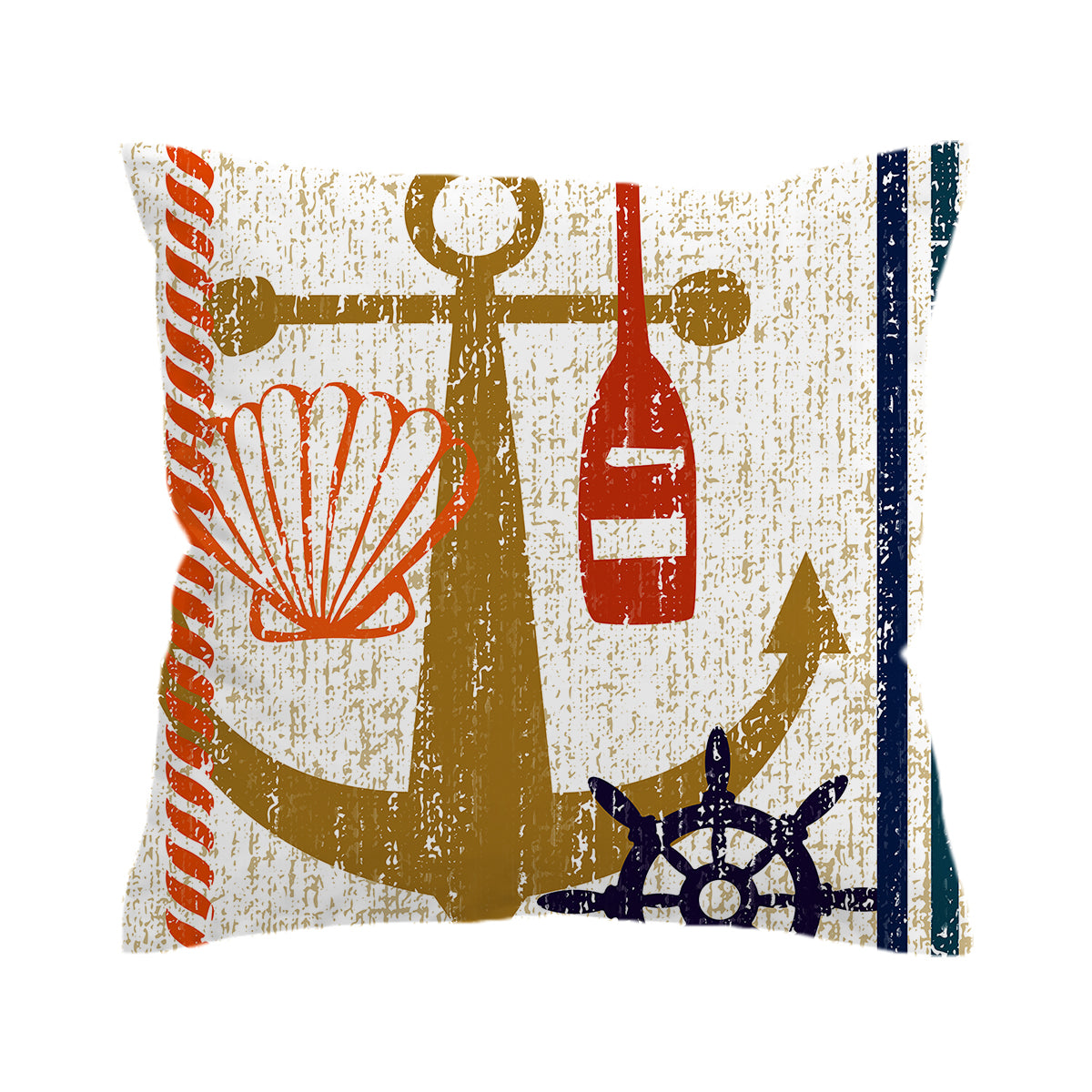 Beachy Anchor Pillow Cover