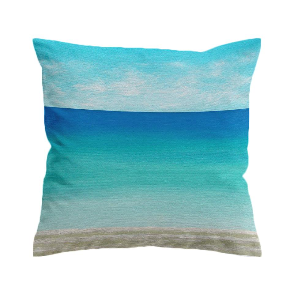 Beachy Blues Beach Painting Pillow Cover-Coastal Passion