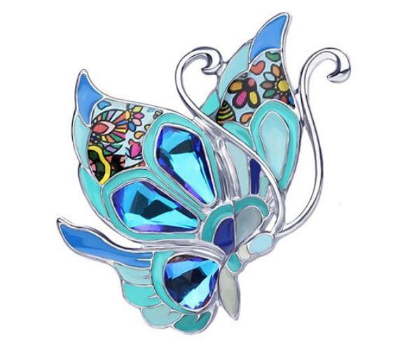 Beachy Butterfly - Enamel Brooch-Coastal Passion