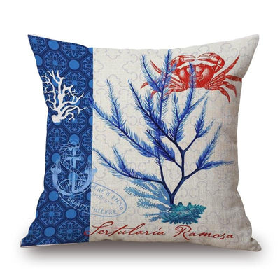 "Blue Coral Collection-Pillow Cover-Blue Coral Collection 2-17"" x 17""-Standard: Linen-Polyester-Coastal Passion"