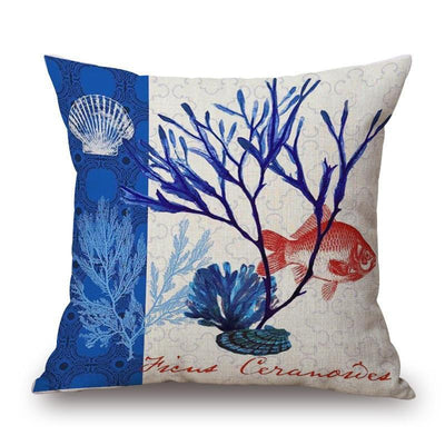 "Blue Coral Collection-Pillow Cover-Blue Coral Collection 3-17"" x 17""-Standard: Linen-Polyester-Coastal Passion"