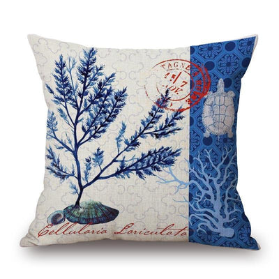 "Blue Coral Collection-Pillow Cover-Blue Coral Collection 4-17"" x 17""-Standard: Linen-Polyester-Coastal Passion"