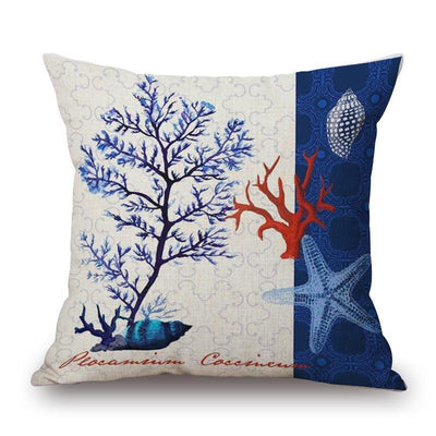 "Blue Coral Collection-Pillow Cover-Blue Coral Collection 1-17"" x 17""-Standard: Linen-Polyester-Coastal Passion"