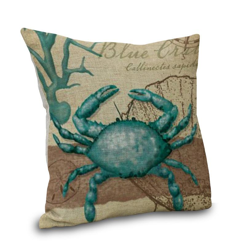 "Blue Crab Pillow Cover NEW ARRIVAL!-Pillow Cover-17"" X 17""-Standard: Linen-Polyester-Coastal Passion"
