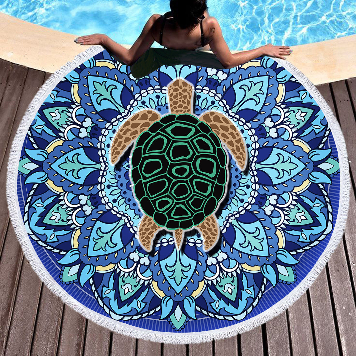 Blue Mandala Turtle Round Beach Towel