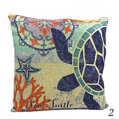 Blue Ocean Series Mix and Match Front and Back Print Pillow Cover-Pillow Cover-2 Sea Turtle-9 Jellyfish-Coastal Passion