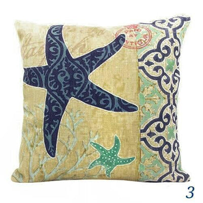 Blue Ocean Series Mix and Match Front and Back Print Pillow Cover-Pillow Cover-3 Starfish-9 Jellyfish-Coastal Passion