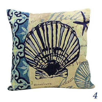 Blue Ocean Series Mix and Match Front and Back Print Pillow Cover-Pillow Cover-4 Scallop Shell-9 Jellyfish-Coastal Passion