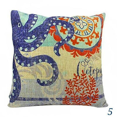 Blue Ocean Series Mix and Match Front and Back Print Pillow Cover-Pillow Cover-5 Octopus and Coral-9 Jellyfish-Coastal Passion