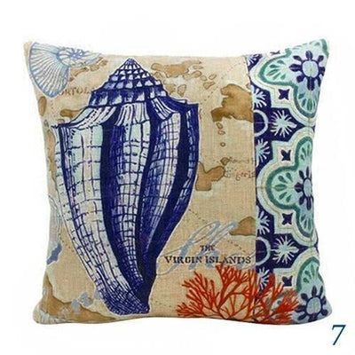 Blue Ocean Series Mix and Match Front and Back Print Pillow Cover-Pillow Cover-7 Cone Shell-9 Jellyfish-Coastal Passion