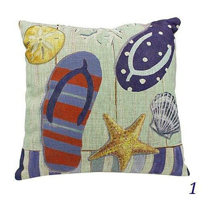 Blue Ocean Series Mix and Match Front and Back Print Pillow Cover-Pillow Cover-1 Flip Flops-9 Jellyfish-Coastal Passion