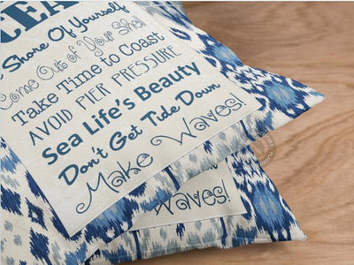Blue Ocean Sign Pillow Cover-Pillow Cover-Coastal Passion
