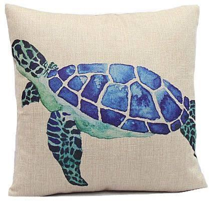 Blue Sea Turtle Pillow Cover