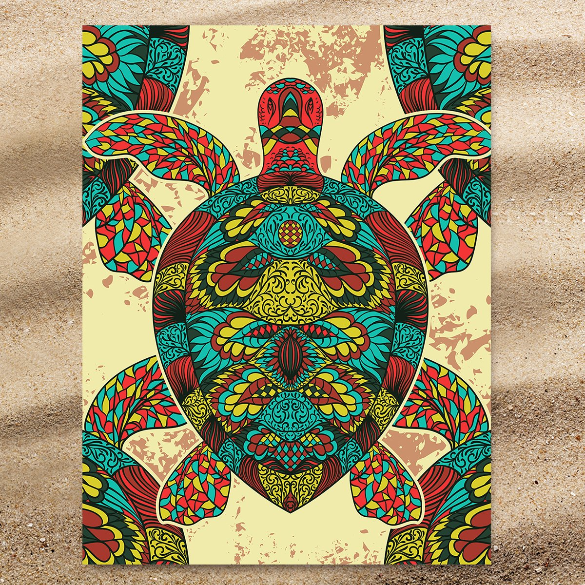 Bohemian Sea Turtle Extra Large Towel-Coastal Passion