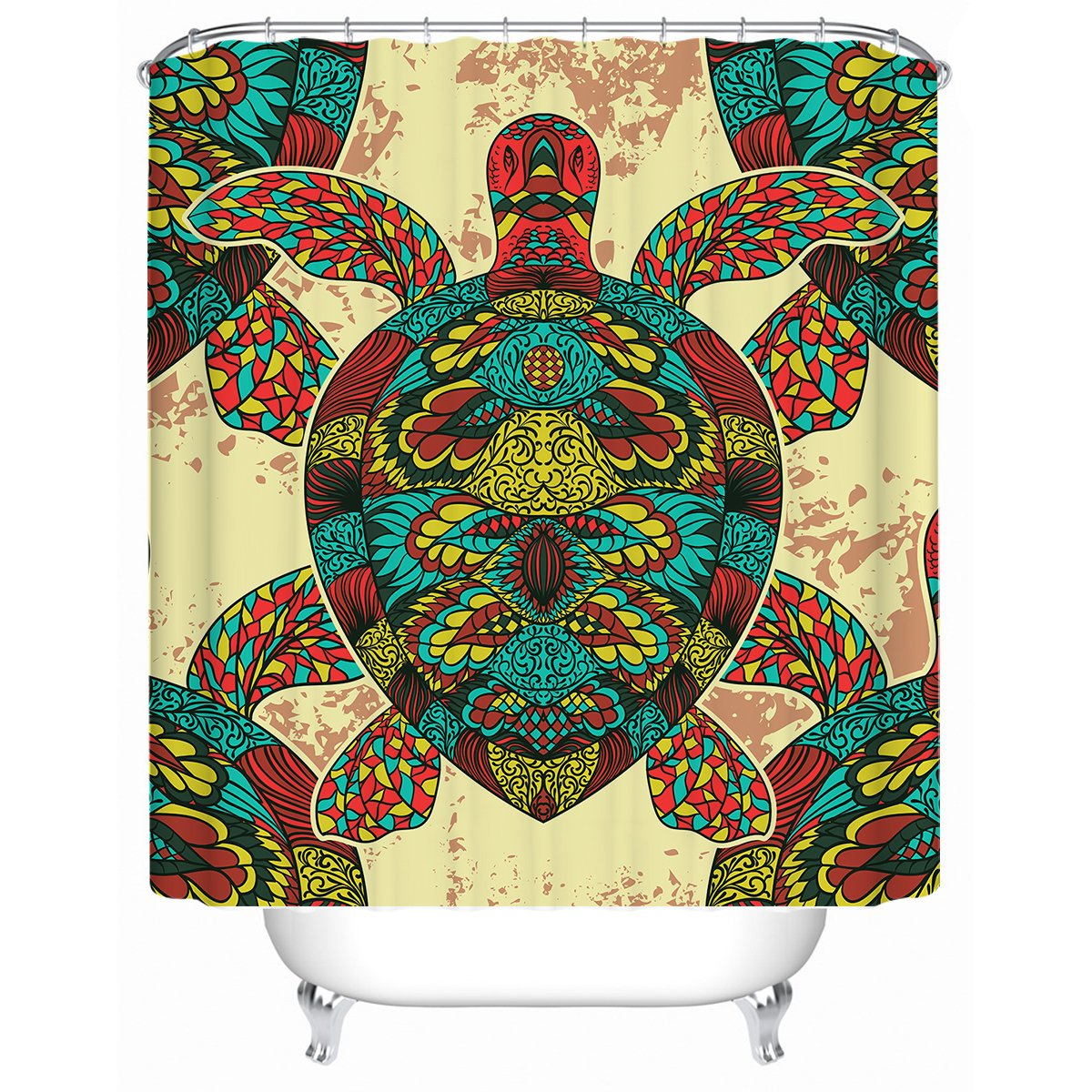 Bohemian Sea Turtle Shower Curtain-Coastal Passion