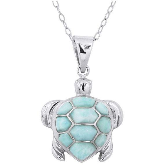 Pendant-Caribbean Larimar Sea Turtle Pendant Necklace-Coastal Passion