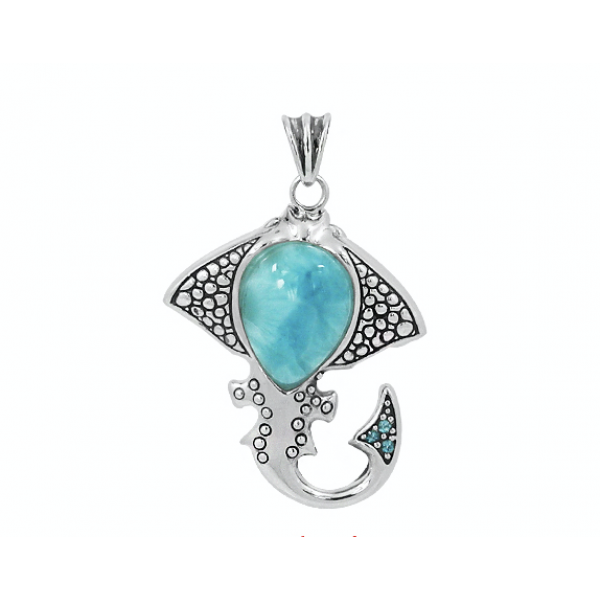 -Caribbean Larimar Tropical Manta Ray Pendant-Coastal Passion