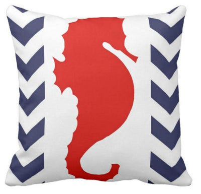 "Chervron Seahorse collection-Pillow Cover-17"" x 17""-Luxury: 100% Linen-Chervron Seahorse 5-Coastal Passion"