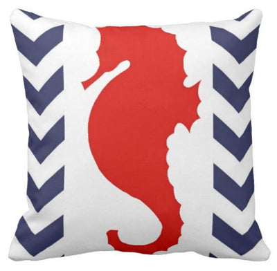 "Chervron Seahorse collection-Pillow Cover-17"" x 17""-Outdoor: Canvas-Chervron Seahorse 1-Coastal Passion"