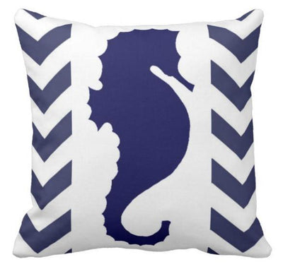 "Chervron Seahorse collection-Pillow Cover-17"" x 17""-Outdoor: Canvas-Chervron Seahorse 3-Coastal Passion"