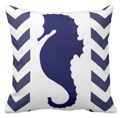 "Chervron Seahorse collection-Pillow Cover-17"" x 17""-Outdoor: Canvas-Chervron Seahorse 5-Coastal Passion"