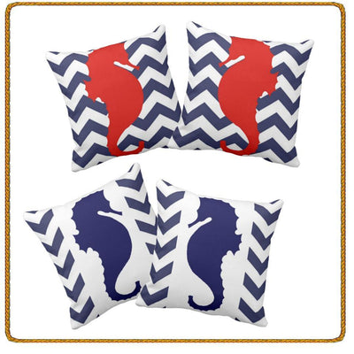 Chervron Seahorse collection-Pillow Cover-Coastal Passion