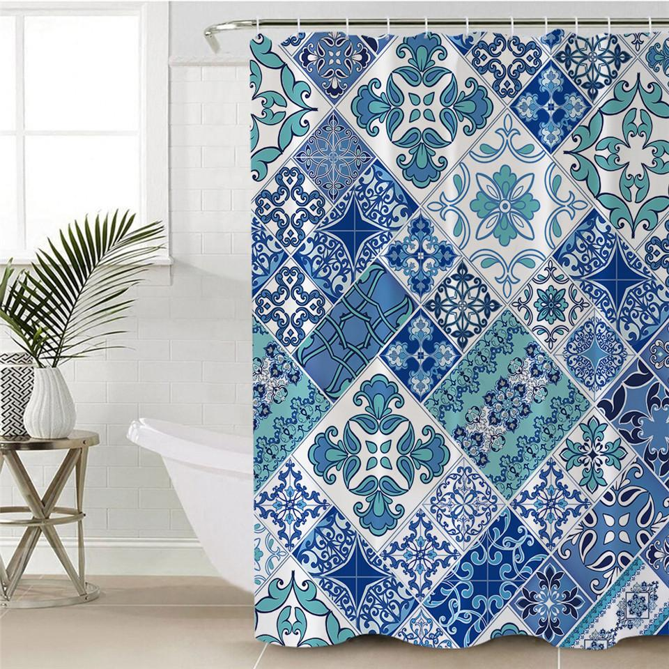 Coastal Mosaic Shower Curtain-Shower Curtain-Coastal Passion