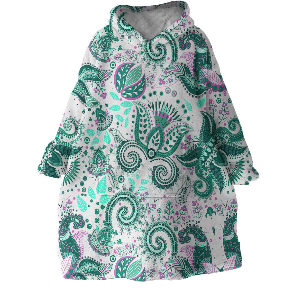 Coastal Paisley Wearable Blanket Hoodie-Coastal Passion